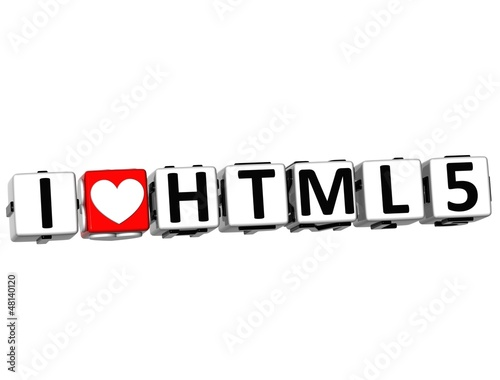 3D I Love HTML 5 Button Click Here Block Text