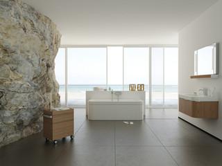 Modernes Badezimmer mit Naturfels - Wand