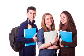 Happy Teenage Students on White