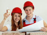 Young couple are happy to fix up a house