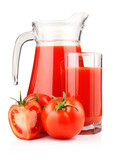 Jug and glass of tomato juice with fruits isolated