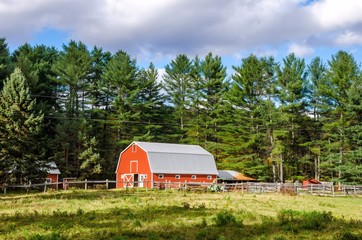 A Red Barn in Countryside