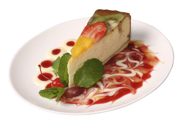 cake with fruits and mint