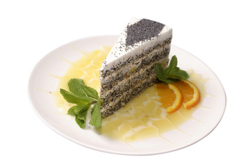 cake with a mint,and orange syrup