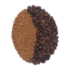 Coffee bean mixed from ground and whole cofee beans