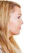 Blonde Frau im Profil