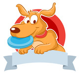 Cute dog with frisbee