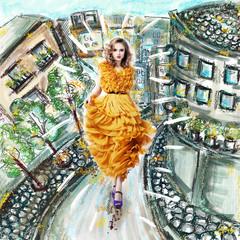 Fantasy. Futuristic Woman in Fashion Dress. Urban Scenery
