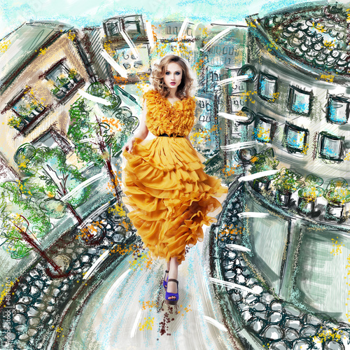 Fantasy. Futuristic Woman in Fashion Dress. Urban Scenery