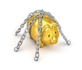 Chained piggy bank