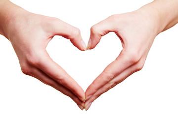 Zwei Hände bilden Herz