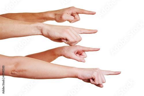 Mobbing durch Finger zeigen