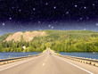 Beautiful road on the lake with night colors