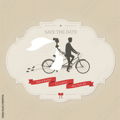 Funny wedding invitation with tandem bicycle