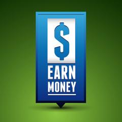 Earn money badge pointer blue