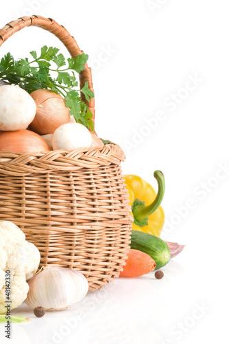 fresh vegetable food on white