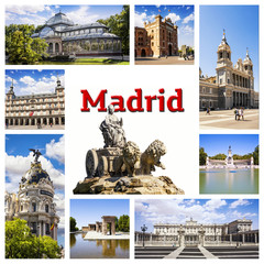 Madrid Collage. Symbols of the capital of Spain.