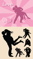 Romantic love couple silhouette 1, Male and female erotic shadow