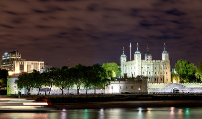 Tower of London and Thames river at Night - London