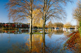 flood in UK, river Thames in Reading