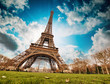Paris. Wonderful wide angle view of Eiffel Tower from street lev