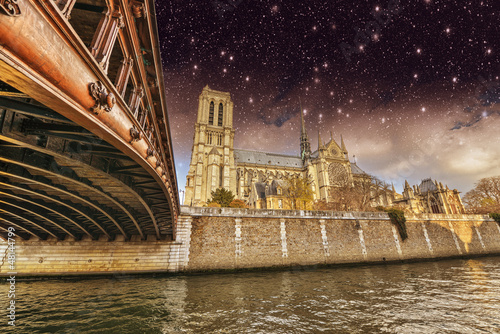 Paris. Beautiful view of Notre Dame Cathedral at night