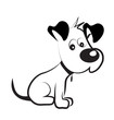 Dog shy terrier silhouette vector