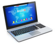 Modern laptop with blue interface