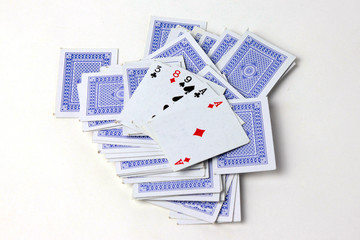 scene of the playing cards for collective game of poker