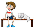 A smiling boy and cat sitting on a bench