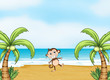 A monkey dancing on a beach
