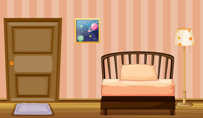 A bed and a door