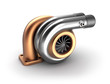 Auto turbine 3D concept. Steel turbocharger isolated on white.