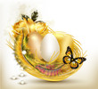Beautiful easter card with ferns, roses and eggs in nest