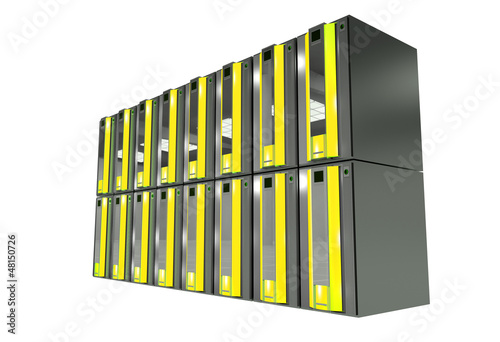 Yellow Server Machines Isolated on White