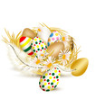 Colorful vector  easter eggs in nest with ferns on a white backg