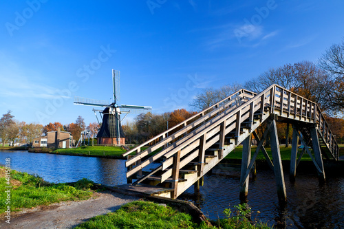 Dutch windmill and bridge