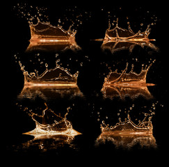 Liquid splashes collection, isolated on black background