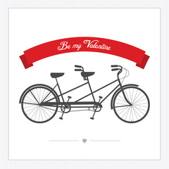 Valentine's Day postcard with vintage tandem bicycle