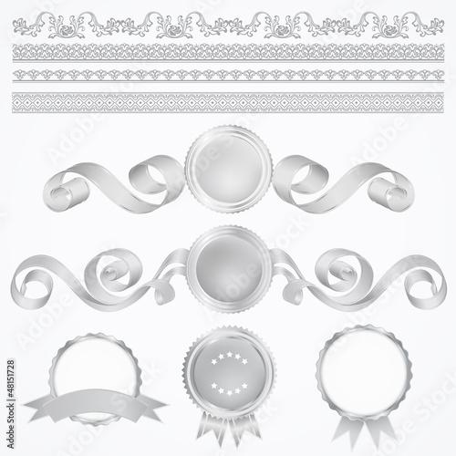 Vector set: Silver Awards. Abstract design elements