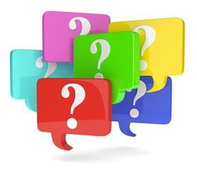 Sprechblasen mit Fragezeichen