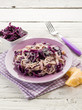 tagliatelle with red cauliflower and parmesan cheese, vegetarian