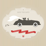 Funny wedding invitation with vintage car dragging cans