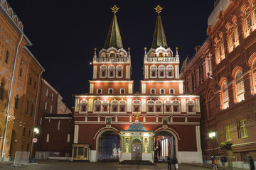 Night view of the entrance gates to red square