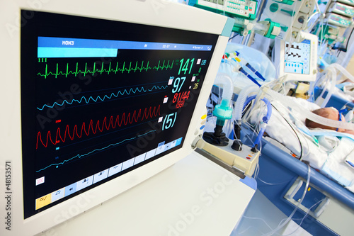 Neonatal ICU with ECG monitor