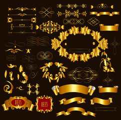 Gold-framed luxury  calligraphic design elements and page decora