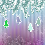 New Year's holiday background with hanging tree.    EPS8