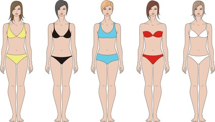 Vector illustration of woman's figure. Hairstyles and underwear