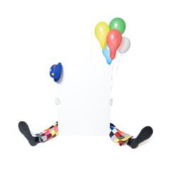 Clown  versteckt sich hinter Schild
