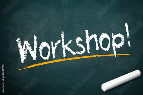 Kreidetafel mit Workshop